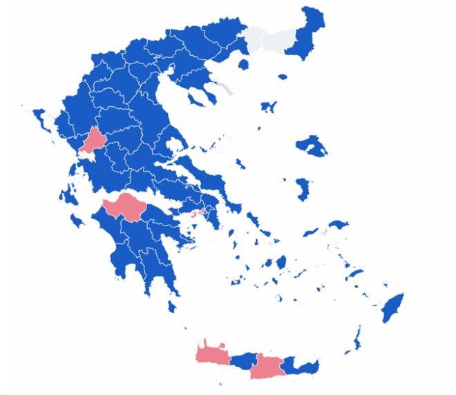 Τελικά αποτελέσματα εκλογών 2019: Ο χάρτης της Ελλάδας στο 100% της ενσωμάτωσης
