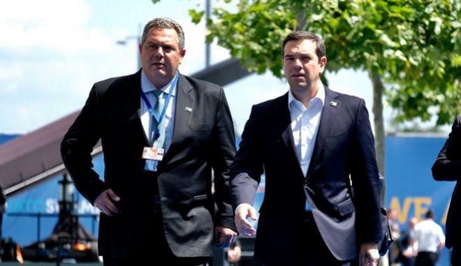 Ο πρωθυπουργός, Αλ. Τσίπρας και ο Υπουργός Εθνικής Άμυνας, Π.Καμμένος