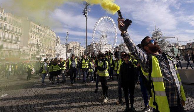 """Διαδηλωτές των """"κίτρινων γιλέκων"""" στη Μασσαλία"""