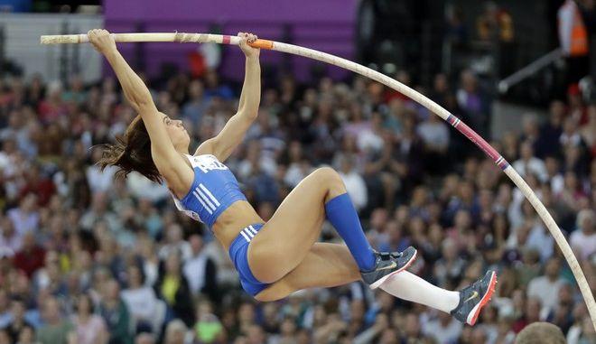 Greece's Ekaterini Stefanidi makes an attempt in the women's pole vault final during the World Athletics Championships in London Sunday, Aug. 6, 2017. (AP Photo/Matt Dunham)