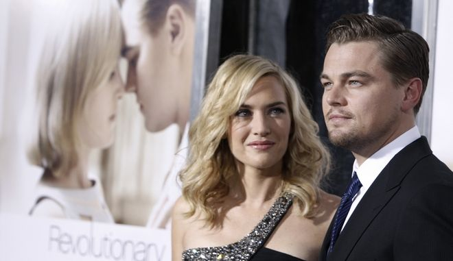 """Leonardo DiCaprio, right, and Kate Winslet pose together at the premiere of """"Revolutionary Road"""" in Los Angeles on Monday, Dec. 15, 2008.  (AP Photo/Matt Sayles)"""