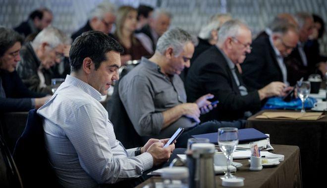 Στιγμιότυπο από τη συνεδρίαση της Κεντρικής Επιτροπής του ΣΥΡΙΖΑ