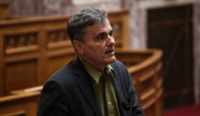 Ο ΥΠΟΙΚ, Ε.Τσακαλώτος, στη συνεδρίαση της Κ.Ο. του ΣΥΡΙΖΑ