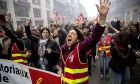 A protester chants slogans during a demonstration in Marseille, southern France, Friday, Jan. 24, 2020. French unions are holding last-ditch strikes and protests around the country Friday as the government unveils a divisive bill redesigning the national retirement system. (AP Photo/Daniel Cole)