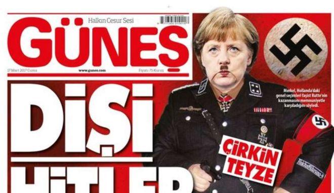 Τουρκική εφημερίδα: Φωτομοντάζ που εμφανίζει την Μέρκελ σαν Χίτλερ