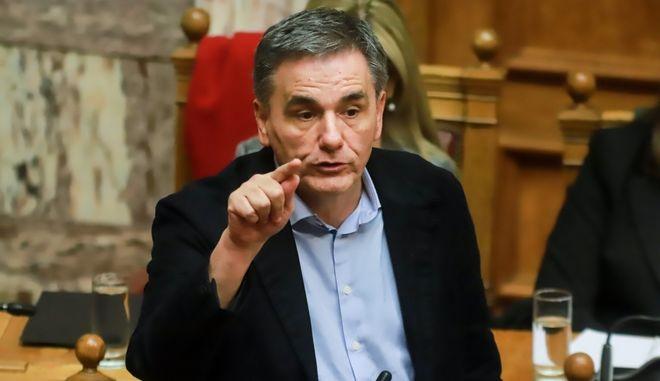 Ο υπουργός Οικονομικών Ευκλείδης Τσακαλώτος σε συνεδρίαση στη βουλή