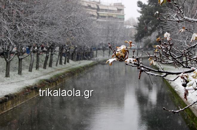 Η χιονισμένη πόλη των Τρικάλων
