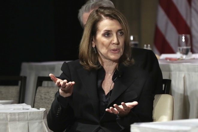 Alphabet Inc. CFO Ruth Porat is interviewed during a luncheon of The Economic Club of New York, in New York, Monday, May 22, 2017. (AP Photo/Richard Drew)