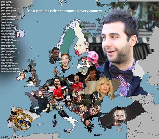 Χάρτης: Αυτοί είναι οι πιο διάσημοι λογαριασμοί twitter στην Ευρώπη