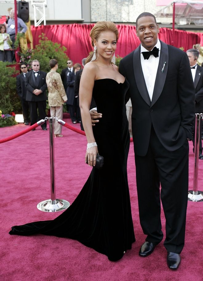Beyonce Knowles arrives with her boyfriend Jay-Z for the 77th Oscars Academy Awards Sunday, Feb. 27, 2005, in Los Angeles. (AP Photo/Amy Sancetta)