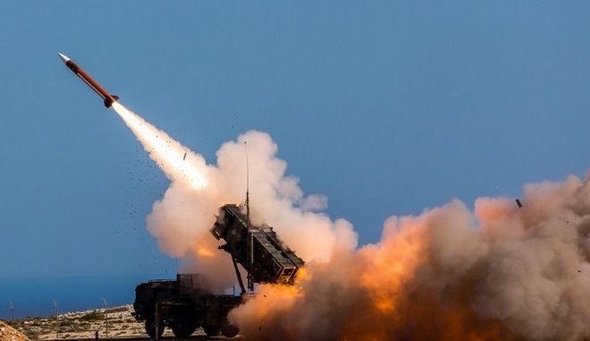 In this Wednesday, Nov. 8, 2017 released by the U.S. Department of Defense, German soldiers assigned to Surface Air and Missile Defense Wing 1, fire the Patriot weapons system at the NATO Missile Firing Installation, in Chania, Greece. U.S. defense giant Lockheed Martin says the company is delivering its Patriot anti-missile system to Saudi Arabia and that the kingdom is on track to become the second international customer, after the United Arab Emirates, to acquire its THAAD system. (Sebastian Apel/U.S. Department of Defense, via AP)