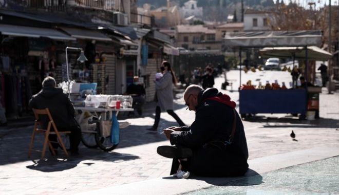 Στιγμιότυπο από το κέντρο της Αθήνας εν μέσω lockdown