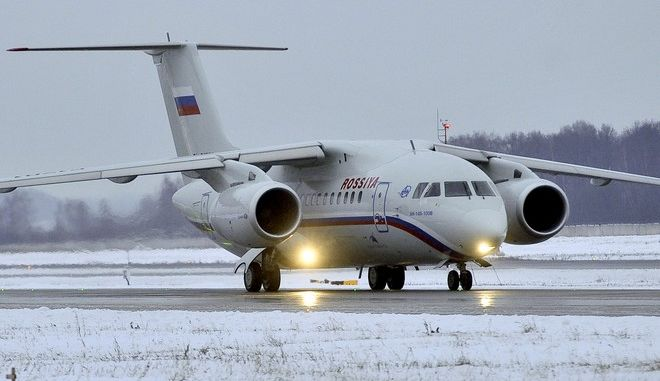 FILE - In this Dec. 24, 2009 file photo an Antonov AN-148 passenger jet taxies after landing at Moscow's Domodedovo airport. The high-wing jet, AN-148,  similar to the plane pictured here, crashed on Saturday, March 5, 2011 in the Belgorod region about 600 kilometers (350 miles) south of Moscow. Russian news reports say six people including two pilots from Myanmar have died in a test flight of an Antonov-148 airliner.(AP Photo/Mitya Aleshkovsky, File)