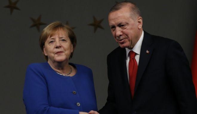 Η Καγκελάριος της Γερμανίας, Άνγκελα Μέρκελ και ο πρόεδρος της Τουρκίας Ρετζέπ Ταγίπ Ερντογάν