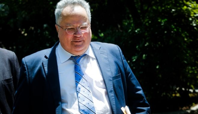 Ο Υπουργός Εξωτερικών Νίκος Κοτζιάς βγαίνει από το Μέγαρο Μαξίμου,μετά την ολοκλήρωση της συνάντησής του με τον Πρωθυπουργό Αλέξη Τσίπρα, Δευτέρα 11 Ιουνίου 2018 (EUROKINISSI/ΧΡΗΣΤΟΣ ΜΠΟΝΗΣ)