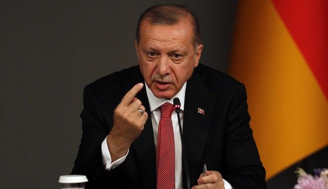 Ο Τούρκος πρόεδρος Ρετζέπ Ταγίπ Ερντογάν σε συνέντευξη Τύπου στην Κωνσταντινούπολη