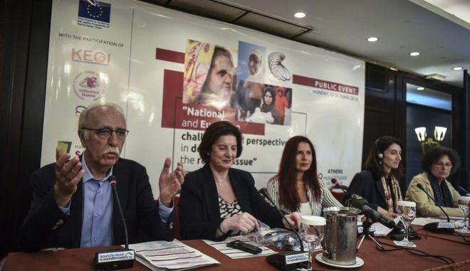 """Στιγμιότυπο από την Ημερίδα με θέμα: """"Εθνικές και Ευρωπαϊκές προκλήσεις και προοπτικές στη διαχείριση του προσφυγικού ζητήματος"""""""