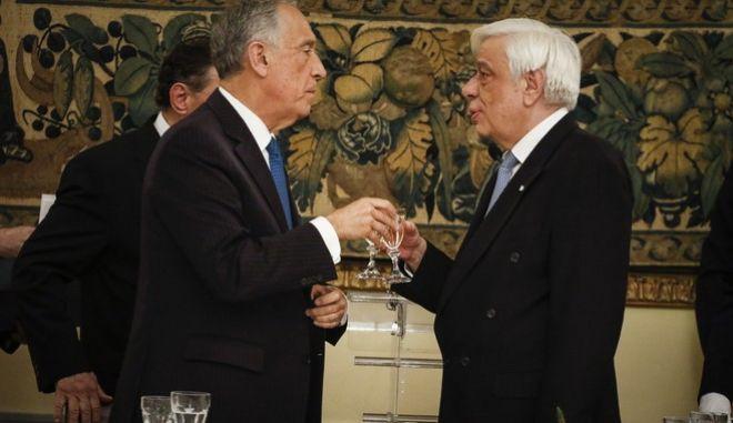 Επίσημο δείπνο στο Προεδρικό Μέγαρο παρατιθέμενο από τον Πρόεδρο της Δημοκρατίας Προκόπιο Παυλόπουλο, προς τιμήν του κ. De Sousa. Τρίτη 13 Μαρτίου 2018 (EUROKINISSI/ΓΙΩΡΓΟΣ ΚΟΝΤΑΡΙΝΗΣ)
