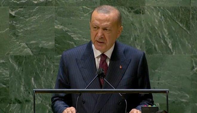 Ο Ταγίπ Ερντογάν κατά την ομιλία του στη Συνέλευση του ΟΗΕ