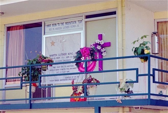 Το μπαλκόνι του Λορραίν Μοτέλ δύο ημέρες μετά την δολοφονία του Κινγκ