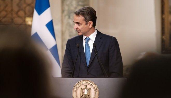 Ο Κυριάκος Μητσοτάκης στη συνέντευξη Τύπου για την τριμερή Σύνοδο Ελλάδας - Αιγύπτου - Κύπρου