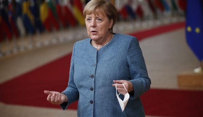 Η Γερμανίδα Καγκελάριος στην Σύνοδο κορυφής της ΕΕ, 1 Οκτωβρίου 2020.