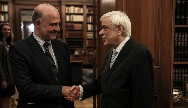 Συνάντηση του Πρέδρου της Δημοκρατίας Προκόπη Παυλόπουλου με τον Επίτροπο Οικονομικών Υποθέσεων της Ευρωπαϊκής Επιτροπής, Πιερ Μοσκοβισί