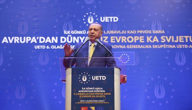 Ο Ερντογάν σε προεκλογική ομιλία του στο Σαράγεβο της Βοσνίας
