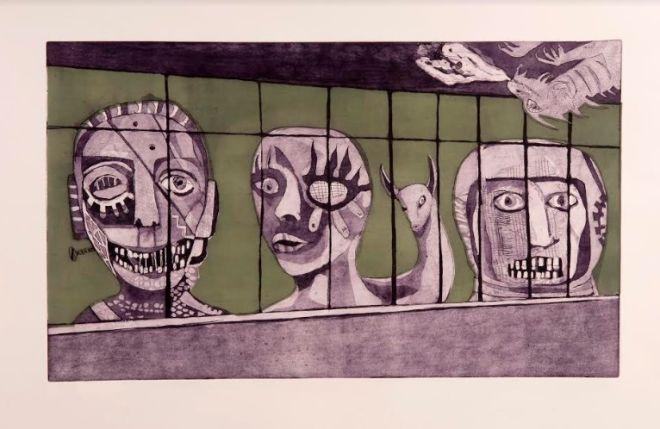 Χαρακτικό (Οξυγραφία) Χριστόφορου Κατσαδιώτη-Έξω από το παράθυρο-2012