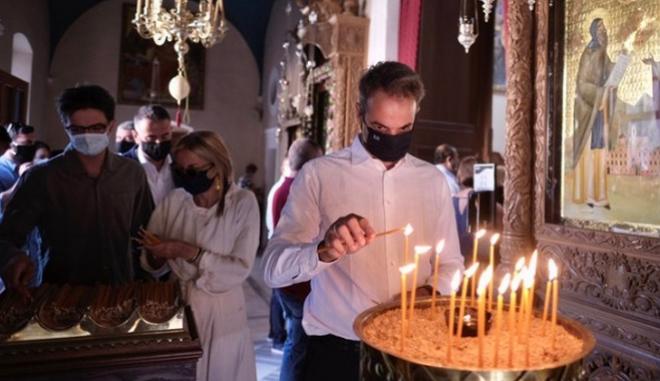 Προσκύνημα Μητσοτάκη για την Κοίμηση της Παναγίας.