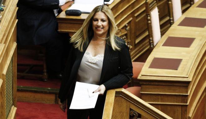 Η επικεφαλής του Κινήματος Αλλαγής, Φώφη Γεννηματά στο βήμα της βουλής