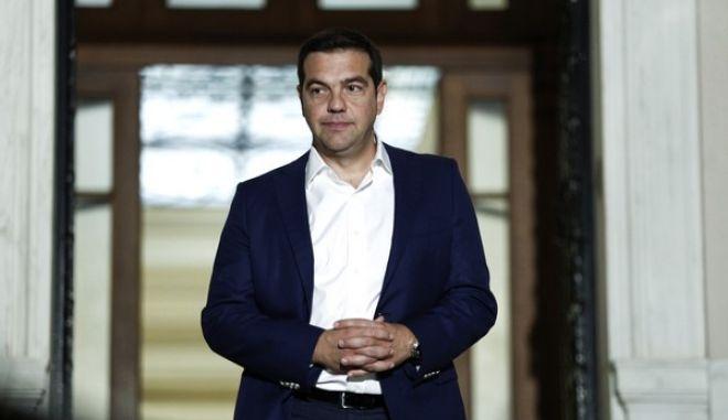 Alexis Tsipras meets Cypriot President Nikos Anastasiadis at Maximos Mansion, in Athens, on Sept. 9, 2016