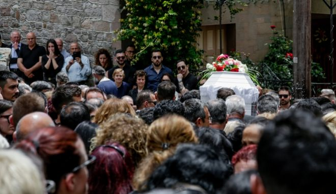 Στιγμιότυπο από την κηδεία του Πάνου Ζάρλα στο χωριό Στύψη στην  Μυτιλήνη,Τρίτη 4 Ιουνίου 2019