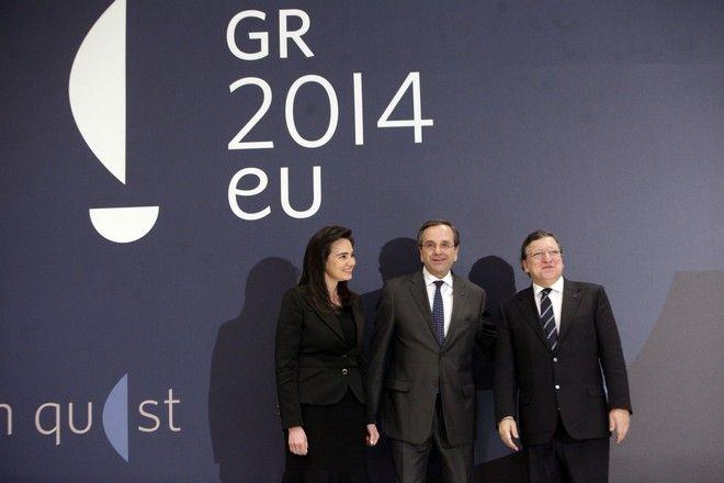 Ο πρωθυπουργός Αντώνης Σαμαράς, η σύζυγός του Γεωργία, με τον Πρόεδρο της Κομισιόν Ζοζέ Μανουέλ Μπαρόζο στην επίσημη τελετή έναρξης της ελληνικής προεδρίας στην Ευρωπαϊκή Ένωση στο Μέγαρο Μουσικής, την Τετάρτη 8 Ιανουαρίου 2014. (EUROKINISSI/ΓΕΩΡΓΙΑ ΠΑΝΑΓΟΠΟΥΛΟΥ)