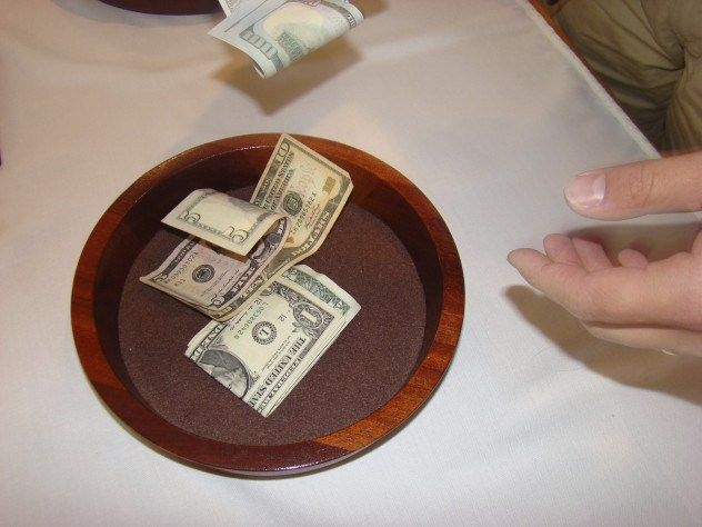 Man holding Religious Offering Collection Plate