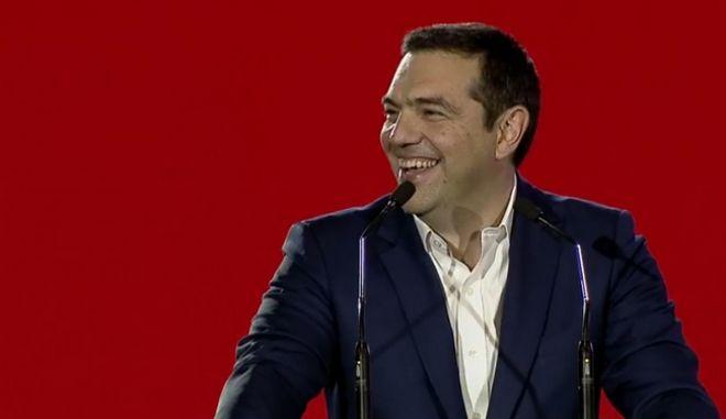 Ο Αλέξης Τσίπρας στην παρουσίαση του ψηφοδελτίου της Ρένας Δούρου
