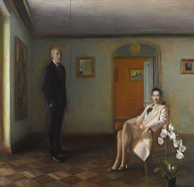 Πορτραίτο Βασίλη και Ελίζας Γουλανδρή (2017-2018) του Γιώργου Ρόρρη, Λάδι σε καμβά
