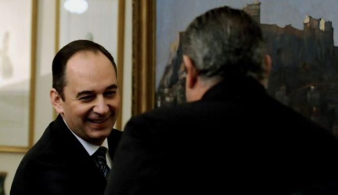 Στιγμιότυπο από την συνάντηση των πολιτικών αρχηγών υπο τον πρόεδρο της δημοκρατίας Προκόπη Παυλόοπουλο σήμερα Σάββατο 28 Νοεμβρίου 2014  (EUROKINISSI/ ΜΠΟΛΑΡΗ ΤΑΤΙΑΝΑ)