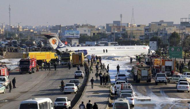 Το αεροπλάνο κοντά στο αεροδρόμιο της Mahshahr