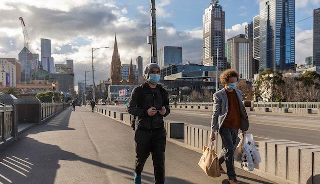 Πεζοί στην Μελβούρνη, κατά την διάρκεια της πανδημίας του κορονοϊού