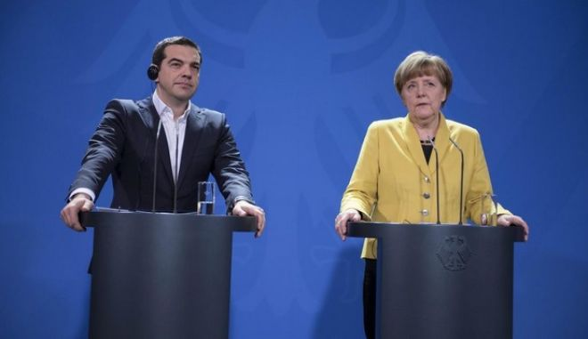 Press conference after the meeting between the German Chancellor Angela Merkel and Greek Prime Minister Alexis Tsipras in Berlin, Germany on March 23, 2015. /         Angela Merkel      ,  , , 23 , 2015