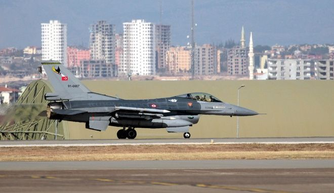 """A Turkish Air Force F16 fighter jet prepares to take off after Defense Secretary Ash Carter visited the Incirlik Air Base near Adana, Turkey, Tuesday, Dec. 15, 2015. Carter said the U.S. wants Turkey to better control its border with Syria, which could help block the flow of foreign fighters to the Islamic State, and to more forcefully join the U.S.-led coalition """"in the air and on the ground."""" Carter was in Turkey Tuesday, saying he is looking for new ways the U.S.-led coalition can strengthen its fight against Islamic State militants in Iraq and Syria.(AP Photo)"""