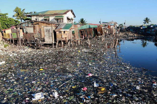 A trash-filled river is seen in Barangay Bagumbayan North in Navotas City, Philippines.