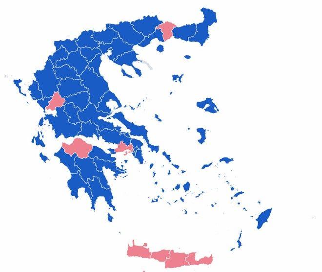 Εκλογές 2019: Η Νέα Δημοκρατία πολλαπλασιάζει τις κερδισμένες Περιφέρειες