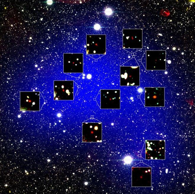 Ανακαλύφθηκαν 12 γαλαξίες από το αρχαιότερο γνωστό γαλαξιακό σμήνος