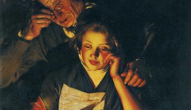Πίνακας του Τζόζεφ Ράιτ του Ντέρμπυ. Νεαρό κορίτσι διαβάζει ένα γράμμα και ένας ηλικιωμένος άνδρας την κοιτάζει