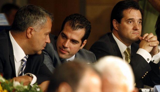 Απο αριστερά οι M. Βορίδης, Θ. Πλεύρης, Α. Γεωργιάδης (Φωτογραφία αρχείου)