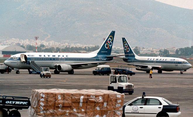 Αεροσκάφη της Ολυμπιακής στο δυτικό αεροδρόμιο τον Ιανουάριο του 1999