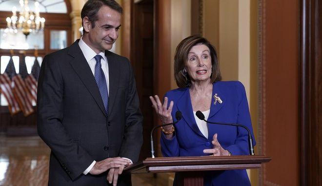 H Nancy Pelosi και ο Κυριάκος Μητσοτάκης
