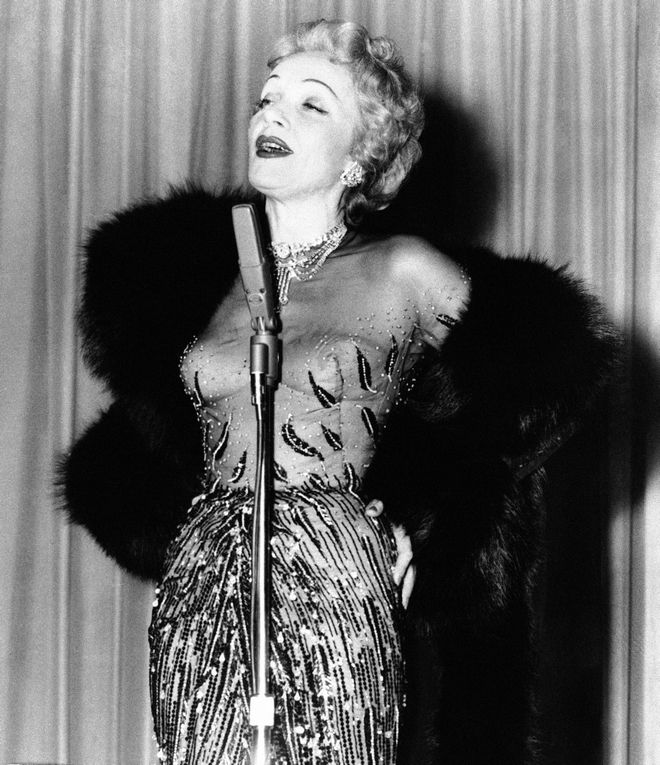 Marlene Dietrich in first night club appearance, Dec. 18, 1953. (AP Photo)